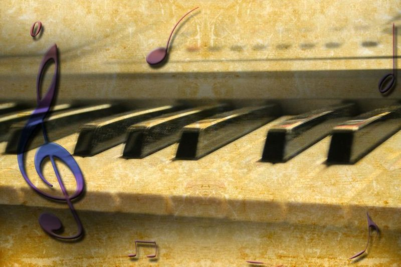 Piano keyboard music header